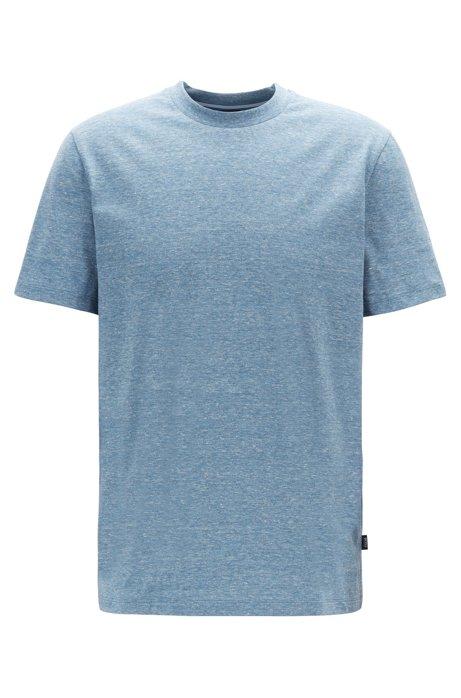 Crew-neck T-shirt in mouliné single-jersey cotton, Open Blue