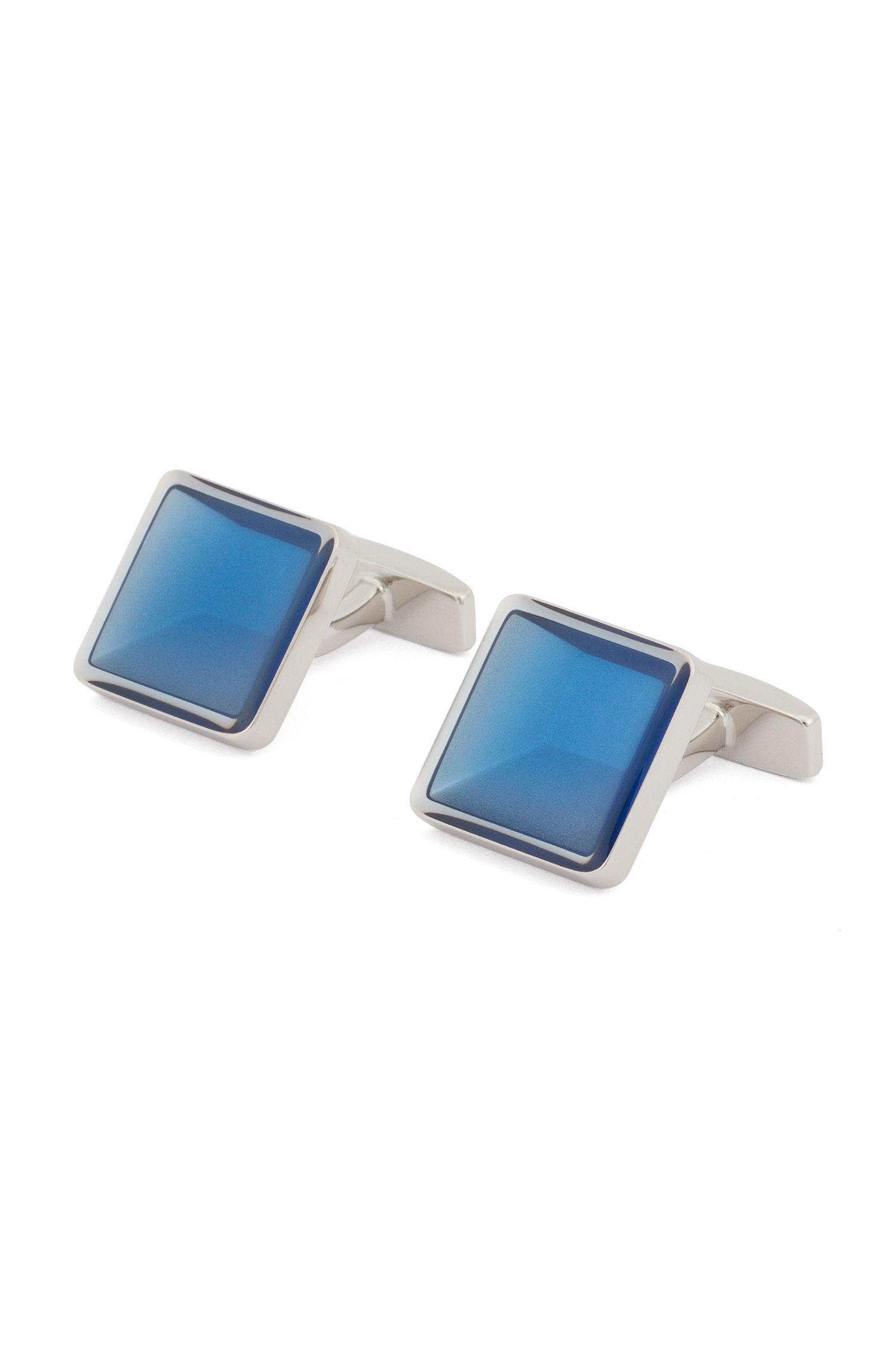 Handgepolijste, vierkante manchetknopen met kern van email met 3D-effect, Blauw