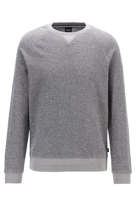 Regular-fit sweater in mouliné French terry, Grey