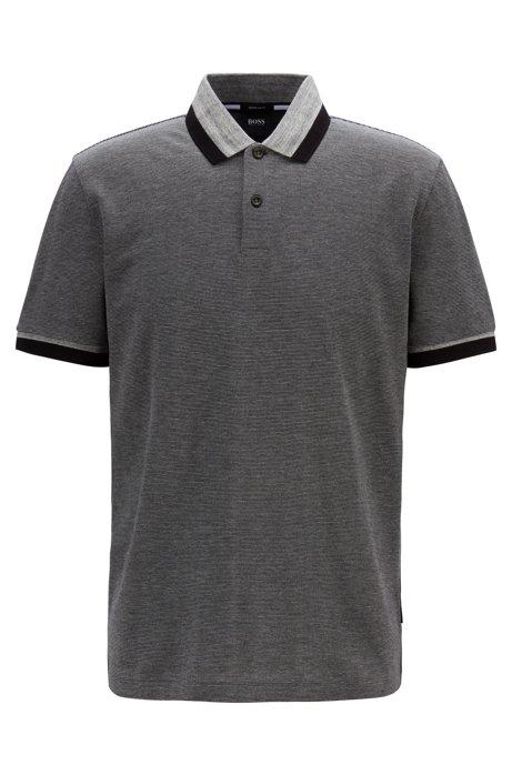 Regular-fit polo shirt with mouliné stripe, Dark Grey