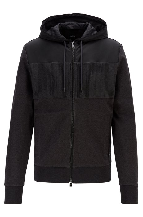 Regular-fit sweatshirt with a zip-through front, Dark Grey