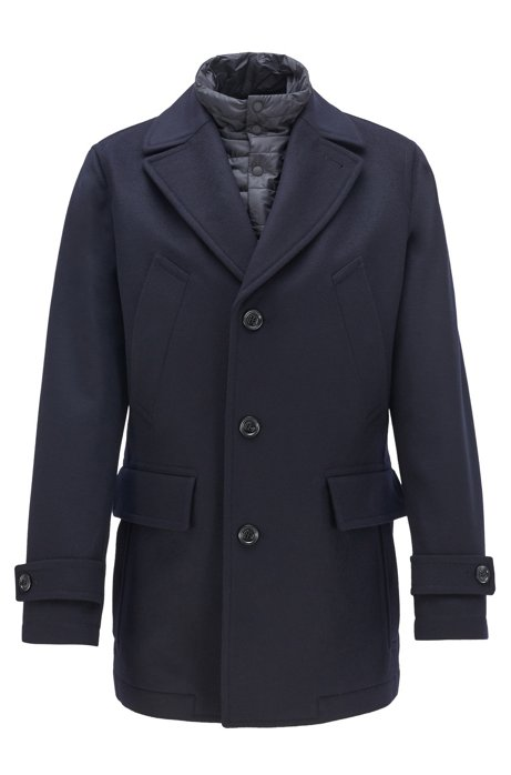 Cappotto corto regular fit in lana vergine e cashmere, Blu scuro