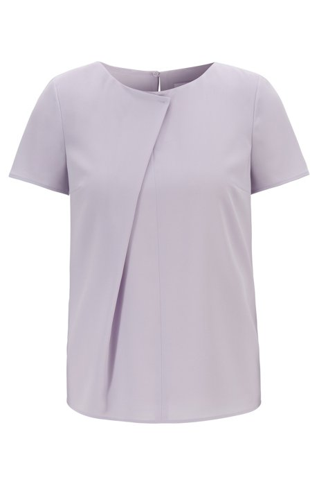 Short-sleeved top in crinkle crepe with pleated front, Light Purple