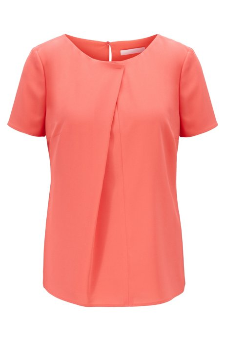 Short-sleeved top in crinkle crepe with pleated front, Pink