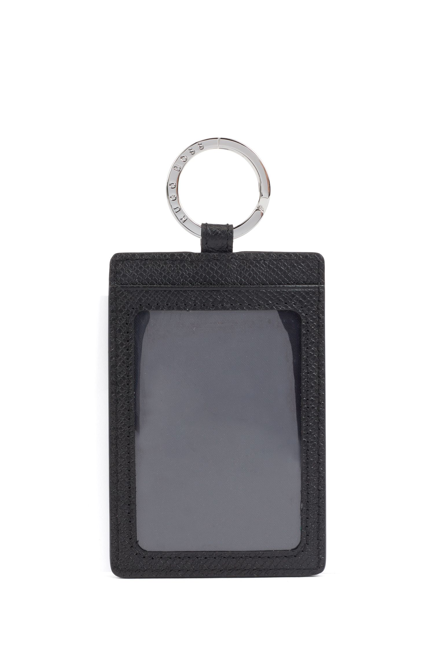 Signature Collection key ring card holder in palmellato leather, Black