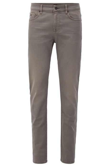 Jean Slim Fit en twill denim stretch confortable, Gris sombre