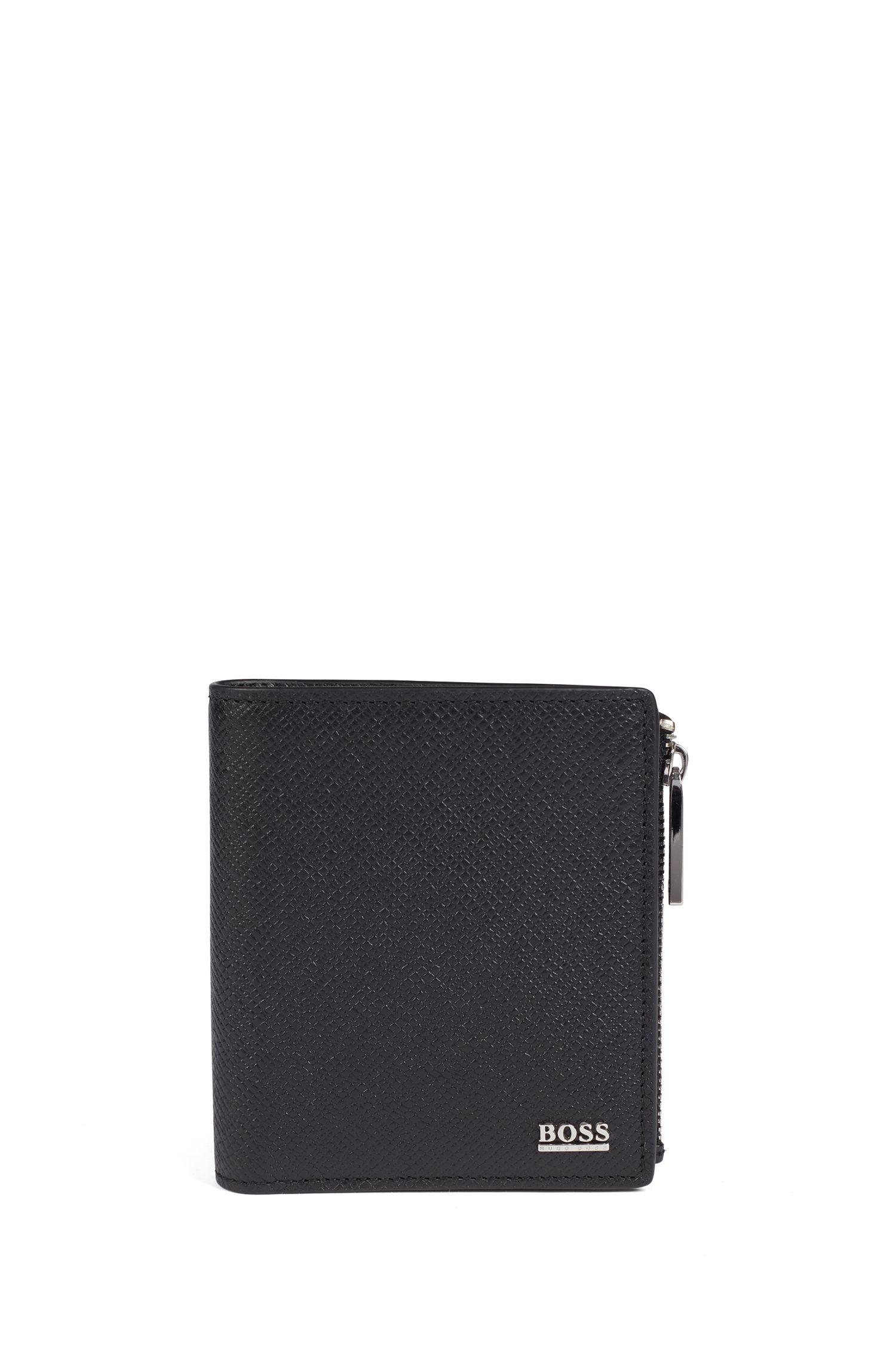 Klapp-Geldbörse aus Palmellato-Leder mit Reißverschluss aus der Signature Collection, Schwarz