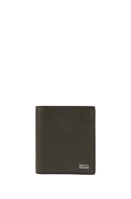 Signature Collection folding wallet in Palmellato leather with zipped pocket, Dark Green