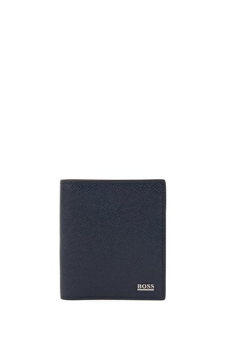Signature Collection folding wallet in Palmellato leather with zipped pocket, Dark Blue