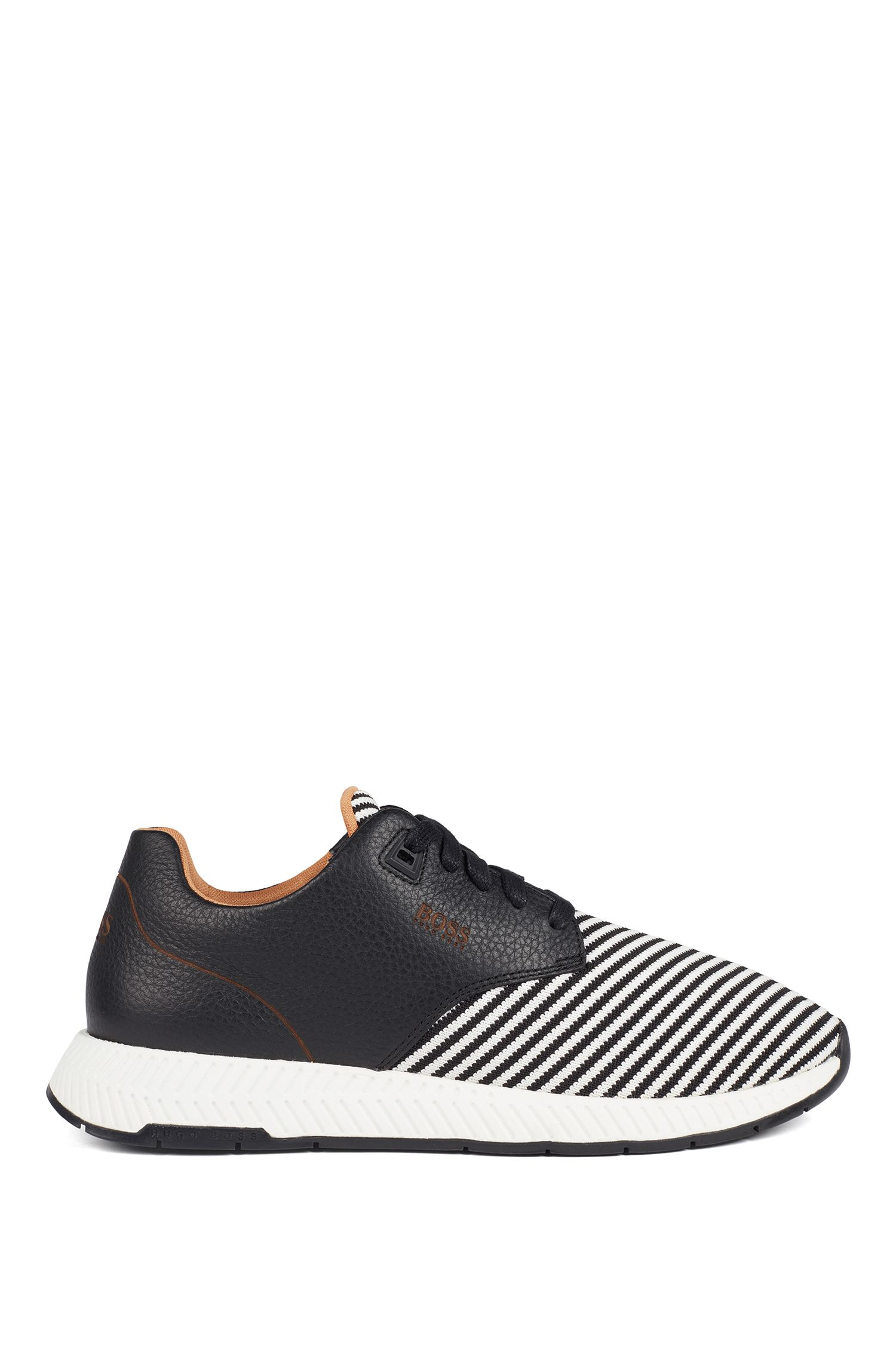 Low-top trainers in leather and S.Café® fabric, Black