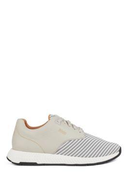 Sneakers aus Leder und S.Café®-Gewebe, Hellbeige