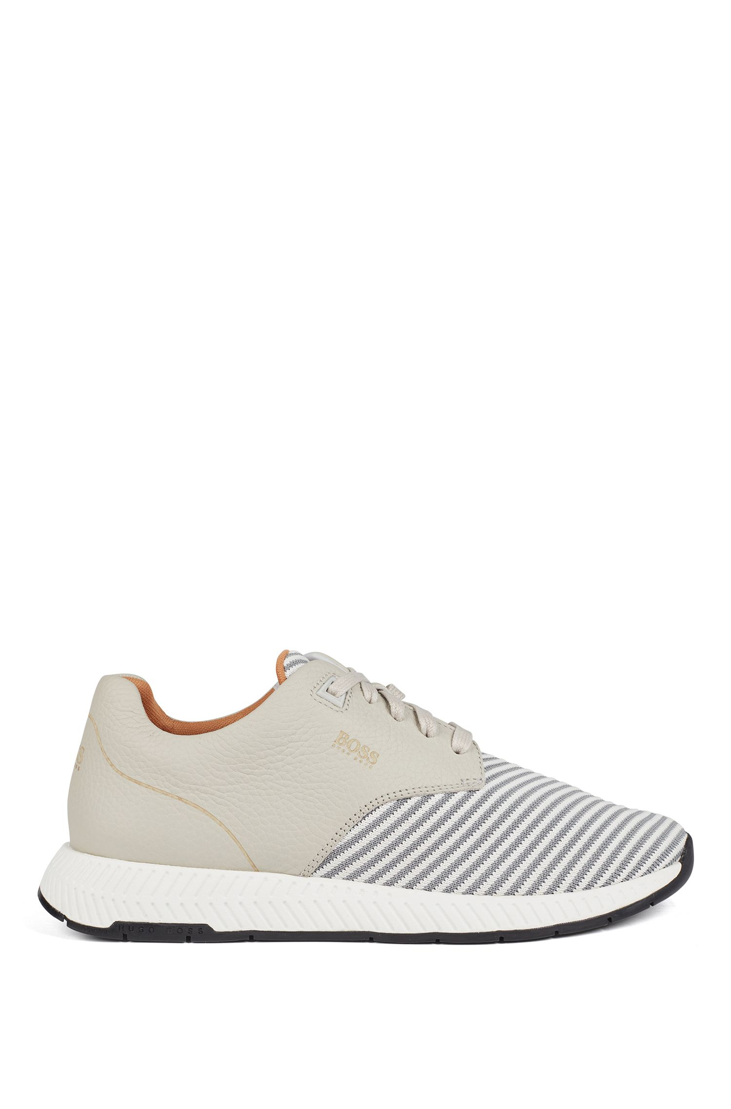 Low-top trainers in leather and S.Café® fabric, Light Beige