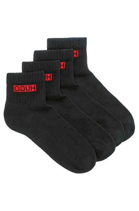 Two-pack of ribbed short socks with reversed logos, Black