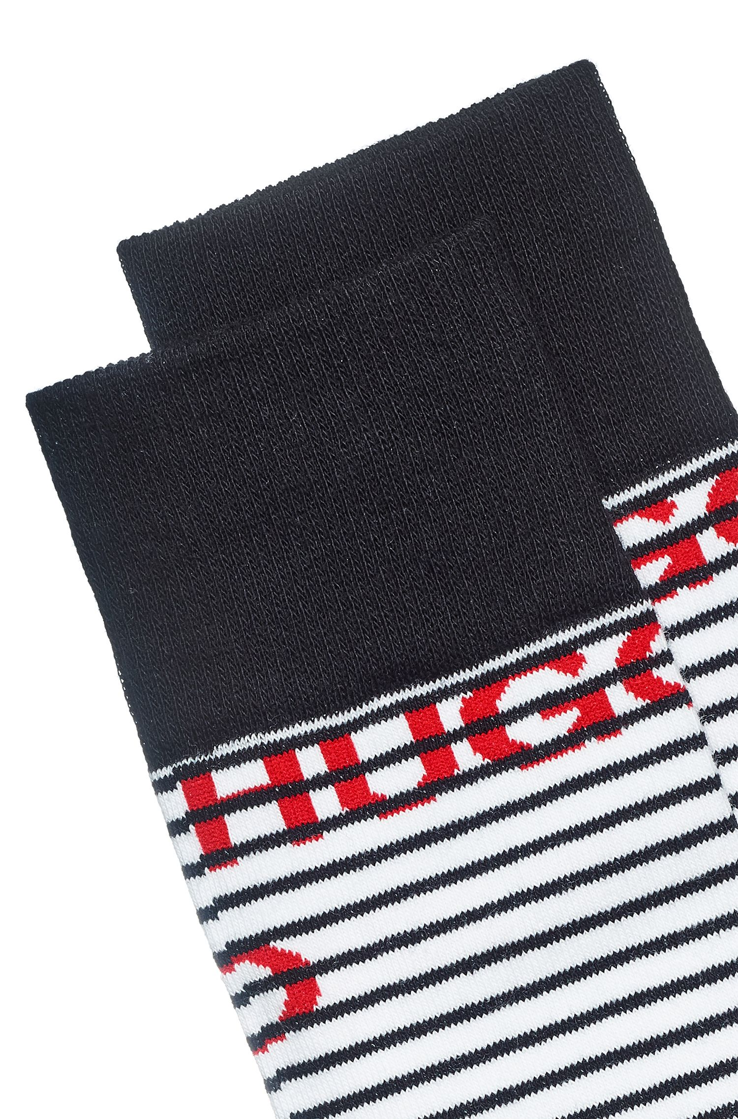 Regular-length striped socks with multiple logos, White