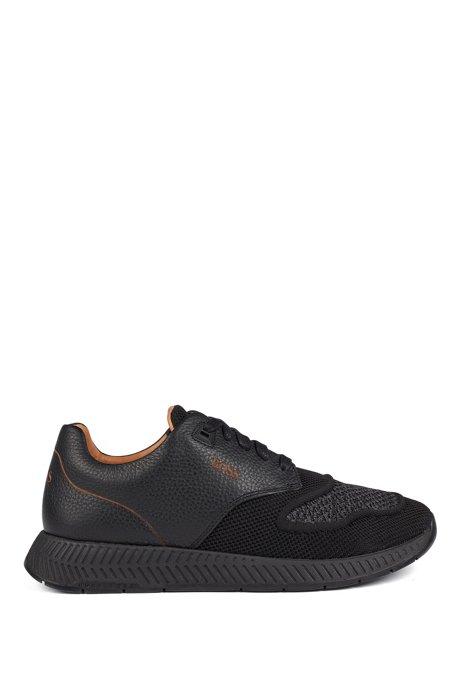Tweekleurige sneakers van gebreid materiaal en generfd rundleer, Zwart