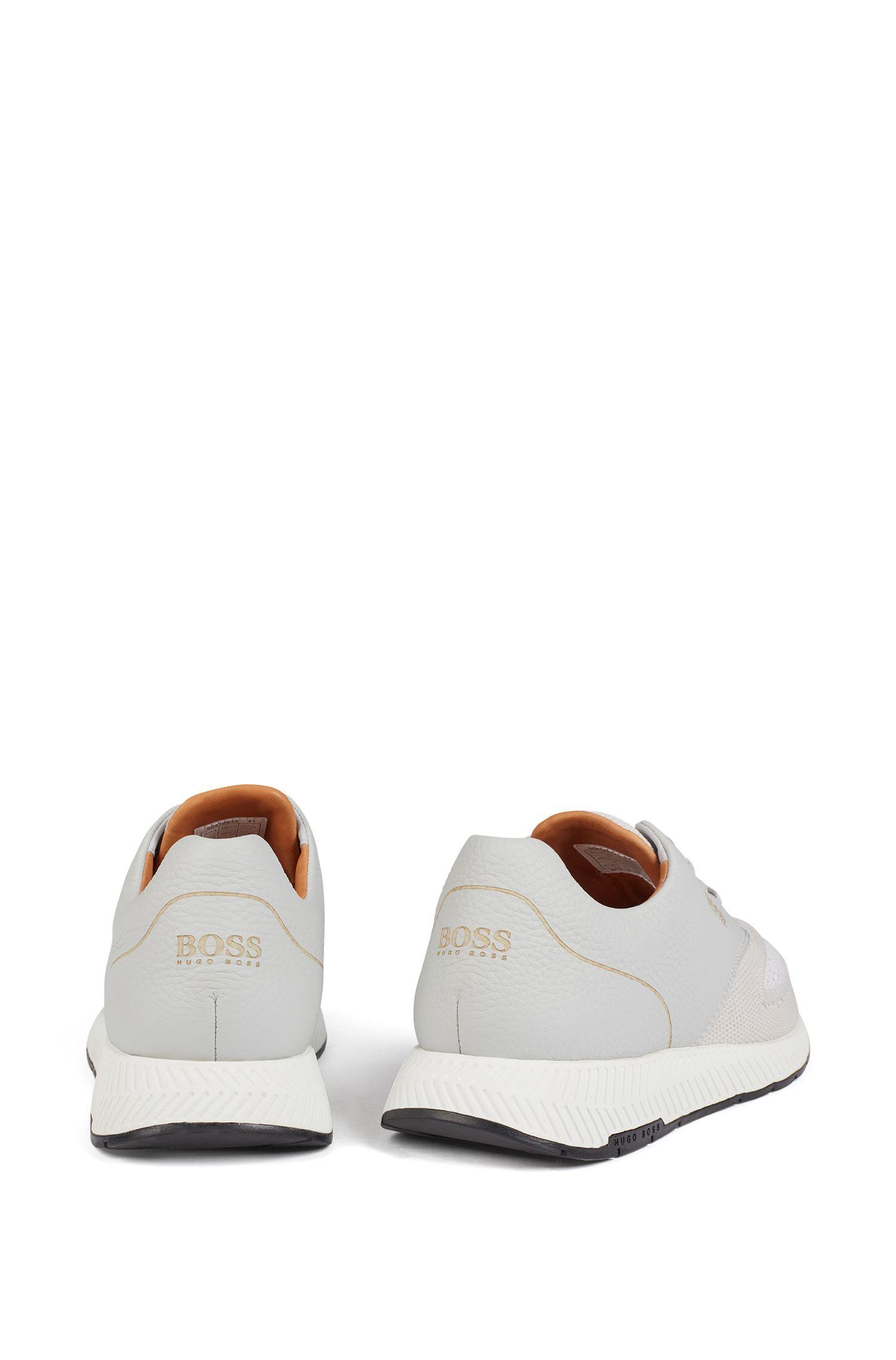 Sneakers bicolore in tessuto lavorato a maglia e pelle martellata, Grigio chiaro