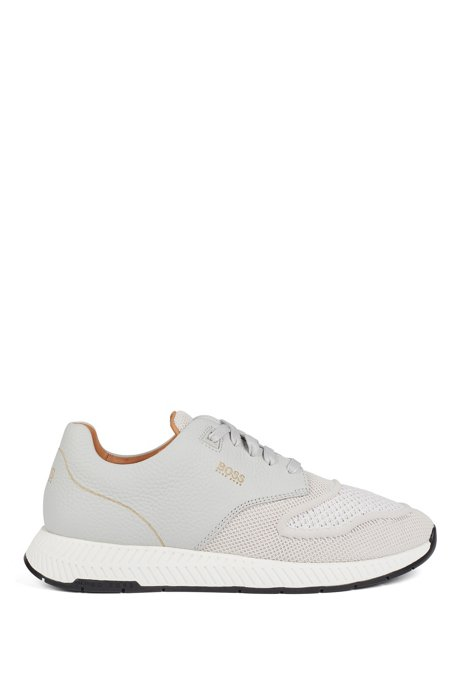 Two-tone trainers in knitted fabric and grained leather, Light Grey