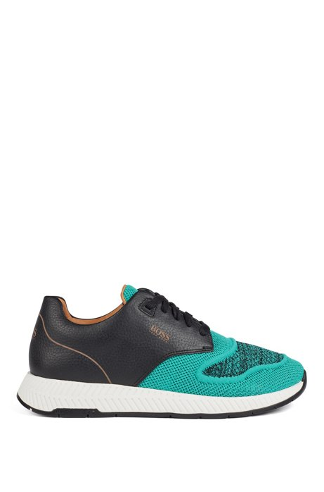 Two-tone trainers in knitted fabric and grained leather, Turquoise