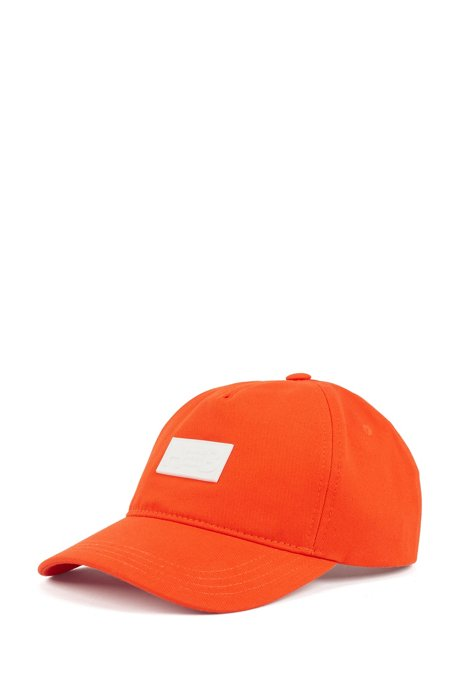 Cotton-twill cap with rubberised logo patch, Orange