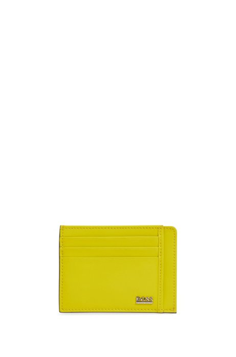 Signature Collection card holder in rubberised Italian leather, Yellow