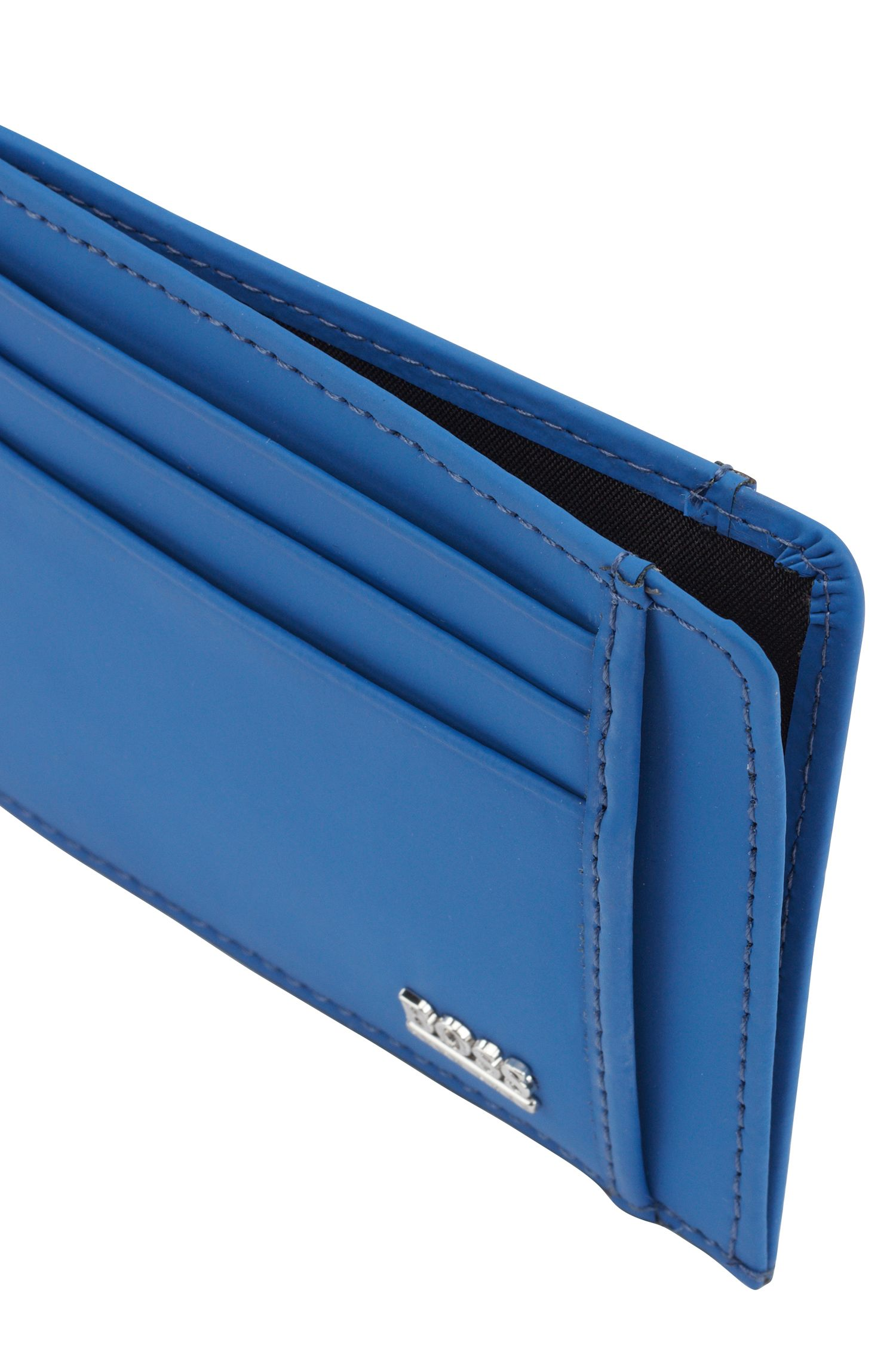Signature Collection card holder in rubberised Italian leather, Turquoise
