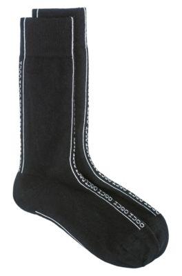 Calcetines de largo estándar con franja de logo invertido, Negro