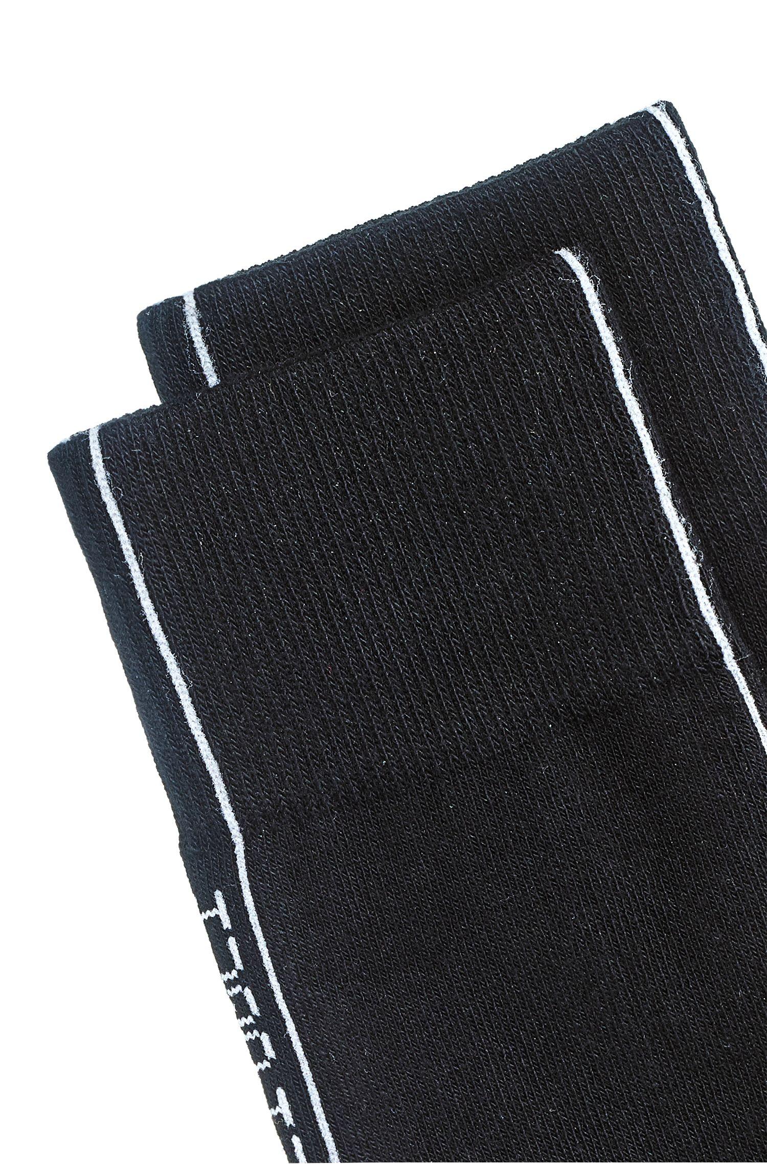 Mittelhohe Socken mit spiegelverkehrtem Logo-Tape, Schwarz
