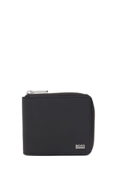 Signature Collection zip-around wallet in rubberised Italian leather, Black