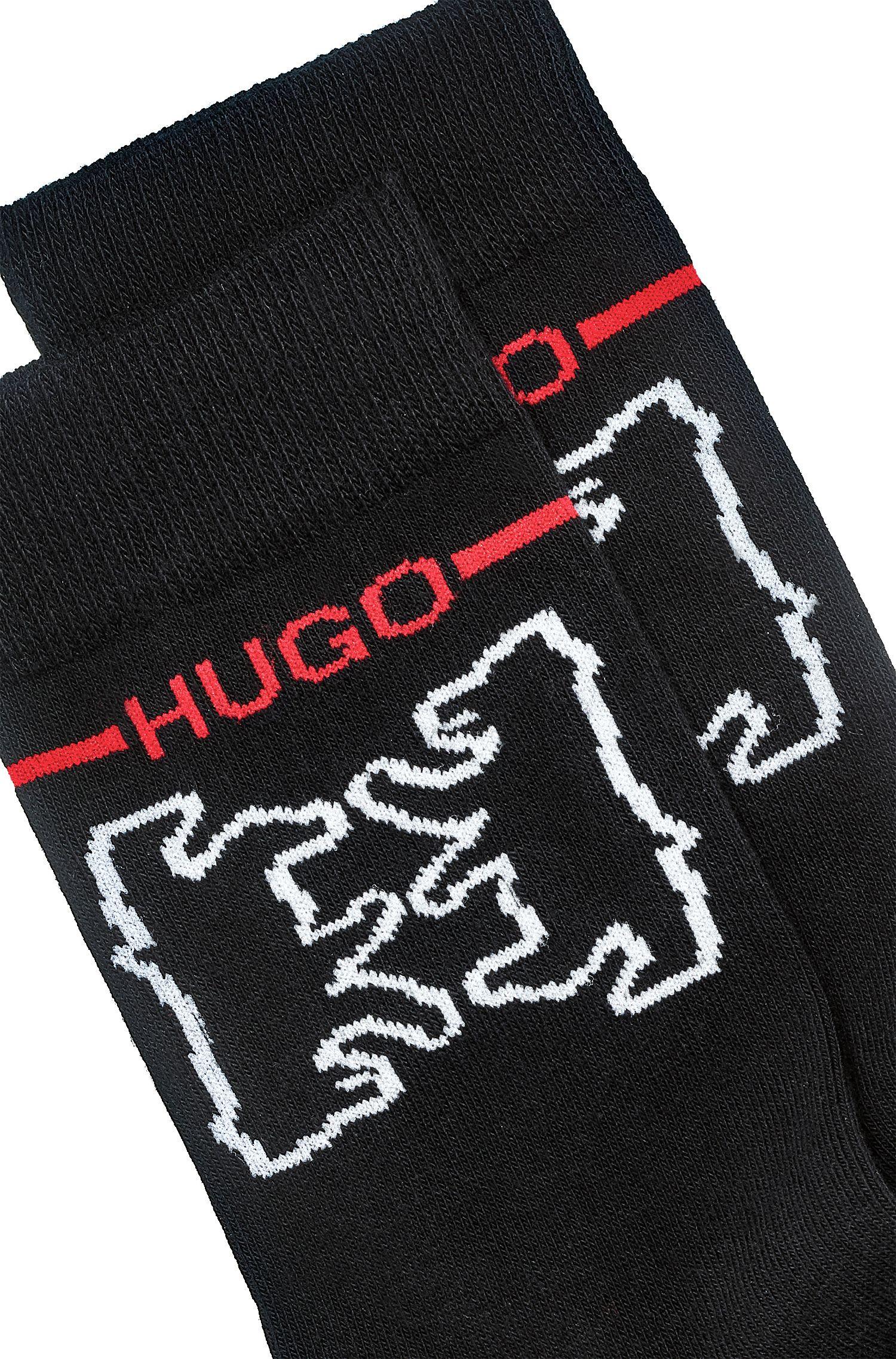 Korte sokken van een katoenmix met beerdessin, Zwart