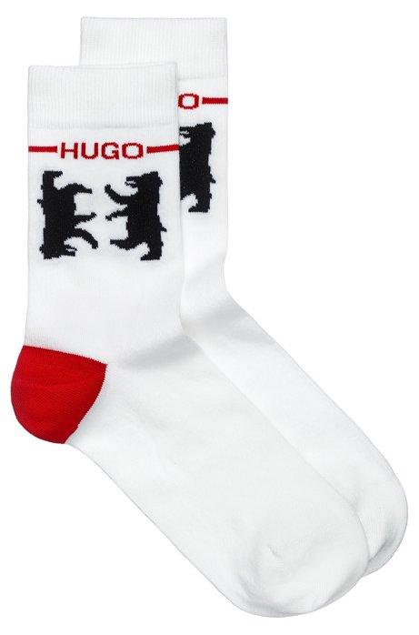 Kurze Socken aus Baumwoll-Mix mit Bären-Motiv, Weiß
