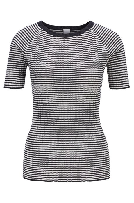 Short-sleeved knitted top in striped cotton with silk, Black