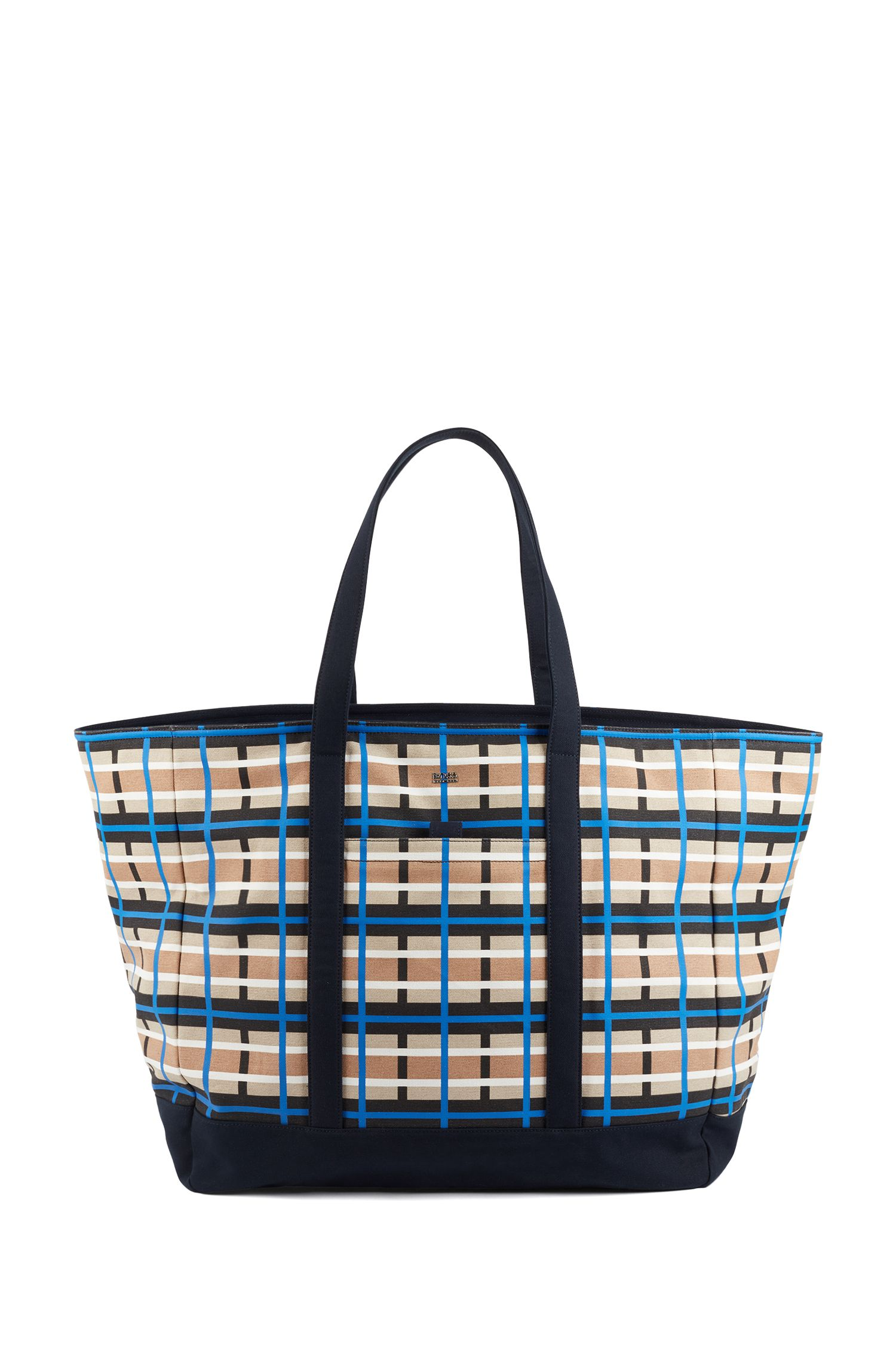Italian-canvas tote bag with colourful check, Patterned