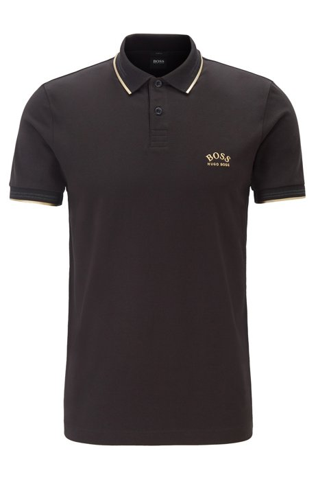 Slim-fit polo shirt in stretch piqué with curved logo, Black