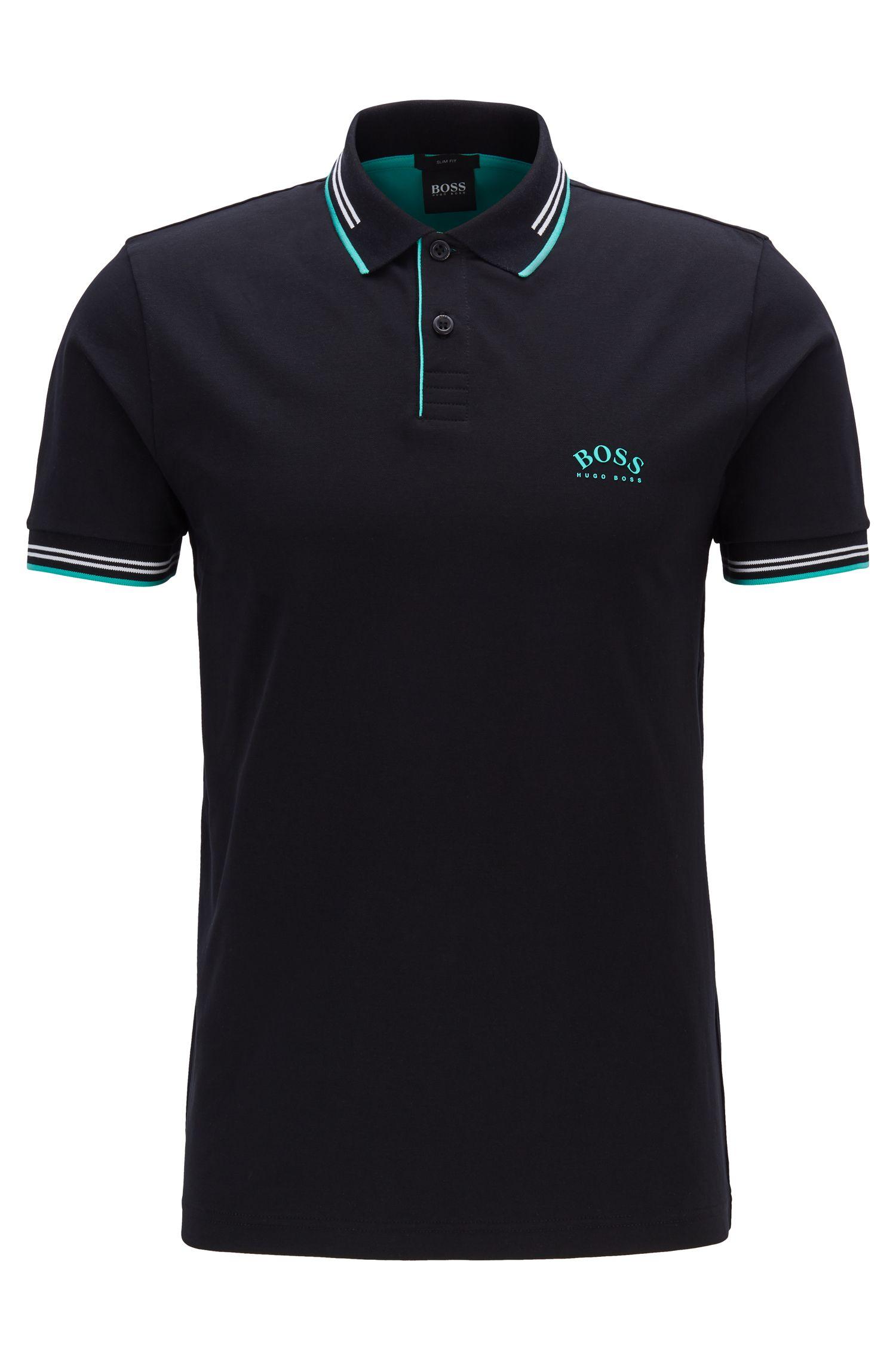 Slim-Fit Poloshirt aus Stretch-Piqué mit geschwungenem Logo, Schwarz
