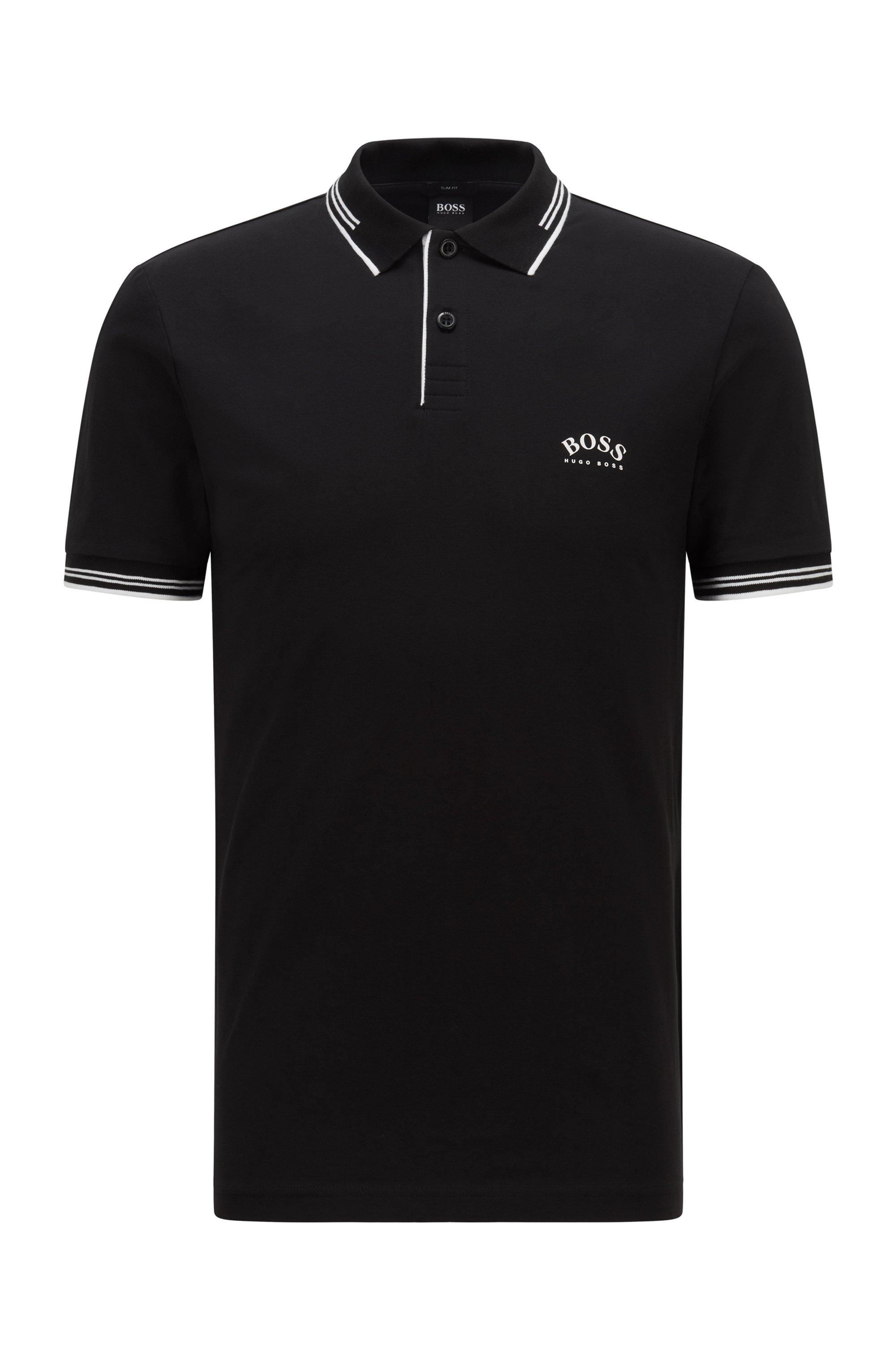 Poloshirt aus Stretch-Piqué mit geschwungenem Logo, Schwarz