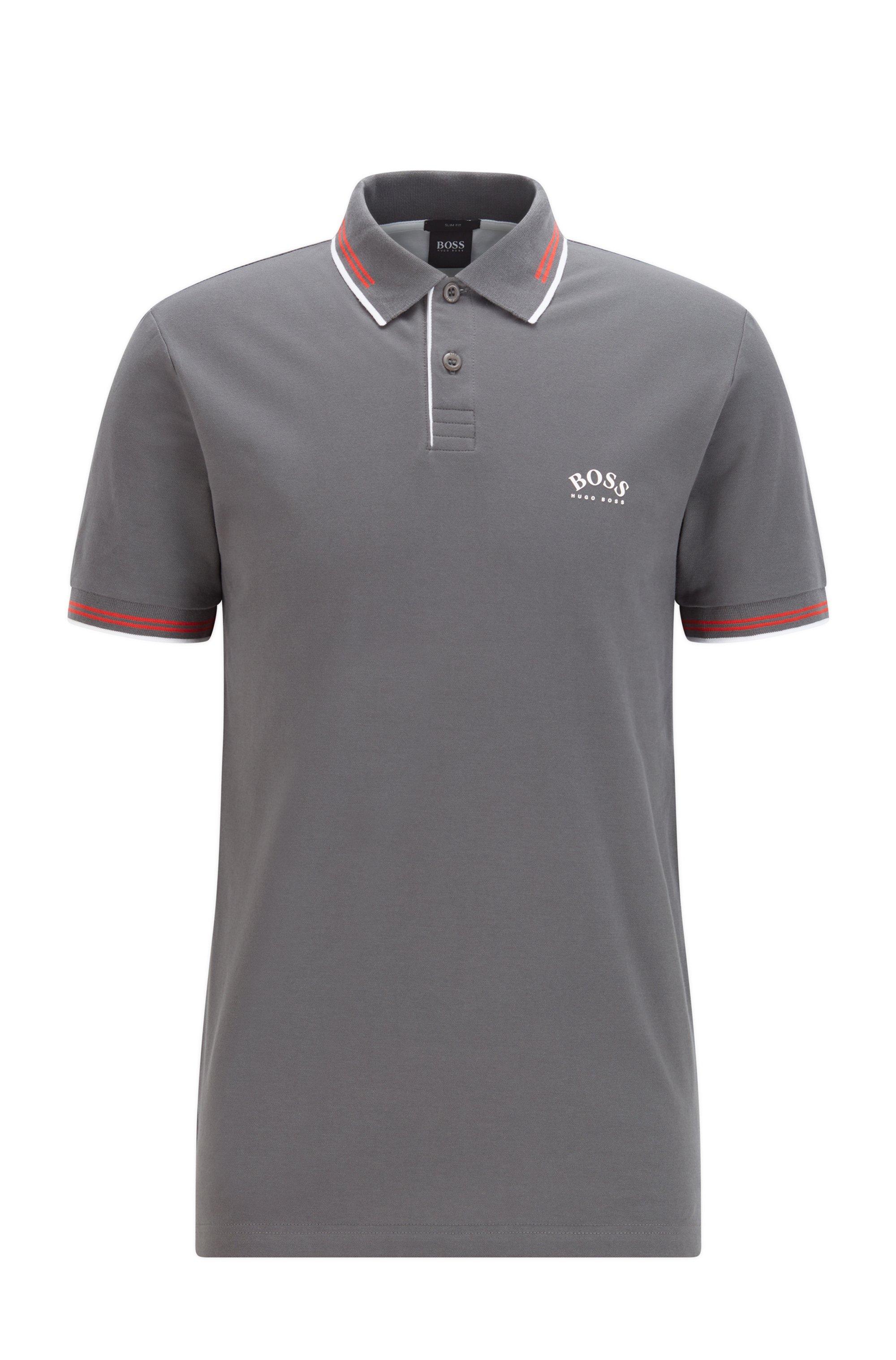 Poloshirt aus Stretch-Piqué mit geschwungenem Logo, Dunkelgrau