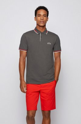 Slim-fit polo shirt in stretch piqué with curved logo, Dark Grey