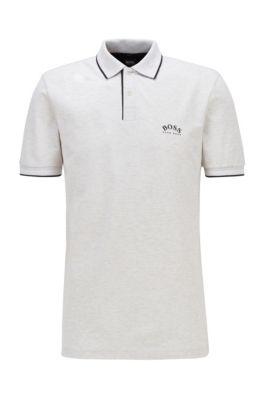 Poloshirt aus Stretch-Piqué mit geschwungenem Logo, Hellgrau