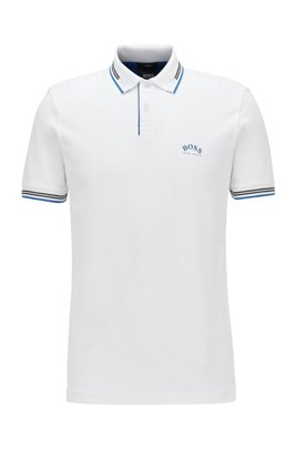 Slim-fit polo shirt in stretch piqué with curved logo, White