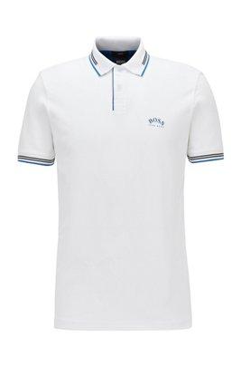 スリムフィット ポロシャツ ストレッチピケ カーブロゴ, ホワイト