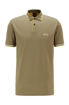 Slim-fit polo shirt in stretch piqué with curved logo, Khaki
