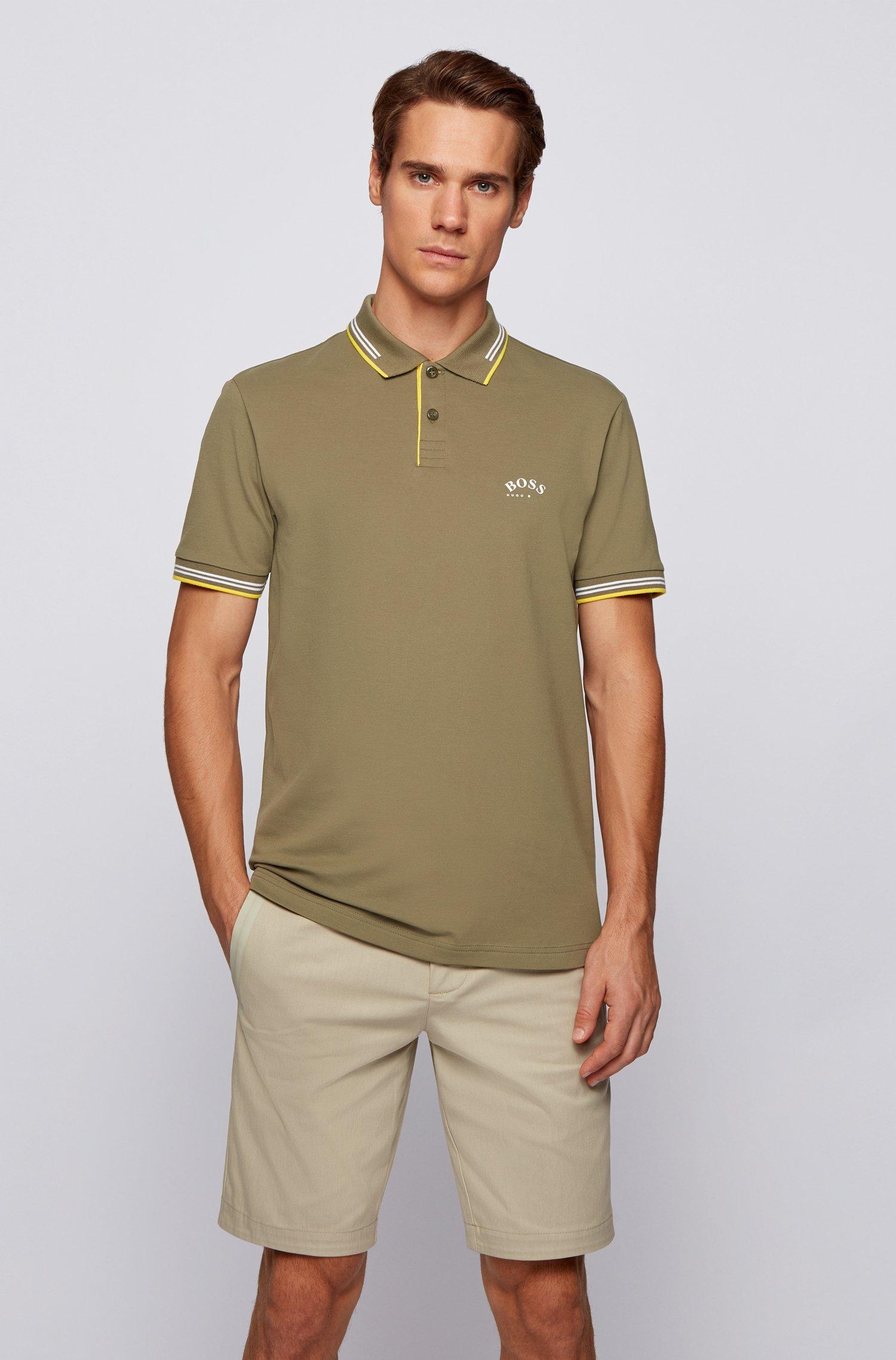 Poloshirt aus Stretch-Piqué mit geschwungenem Logo, Khaki