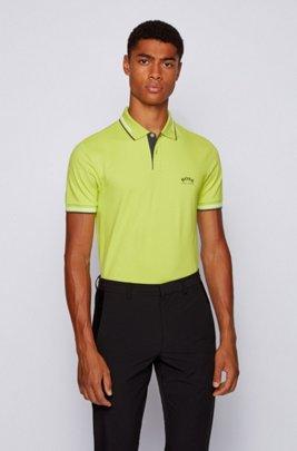 Polo slim fit in piqué elasticizzato con logo curvo, Verde