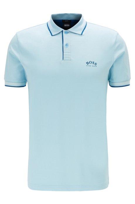Poloshirt aus Stretch-Piqué mit geschwungenem Logo, Hellblau