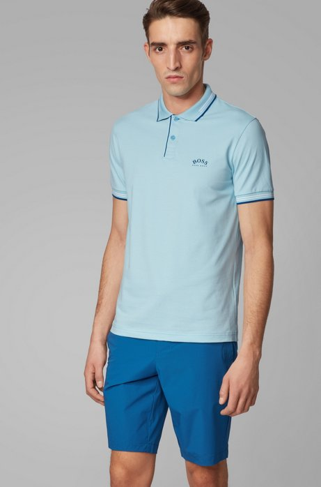 Polo Slim Fit en maille piquée stretch à logo incurvé, Bleu vif