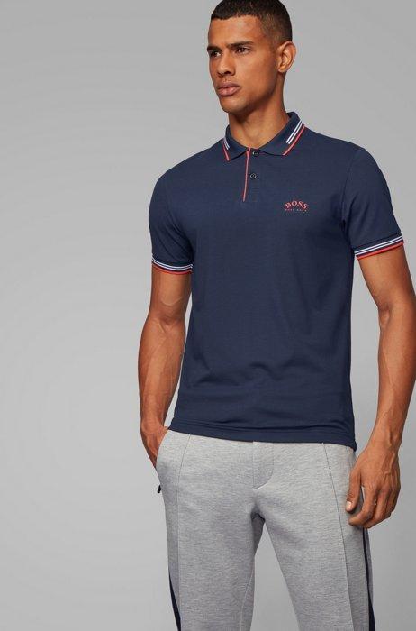 Polo Slim Fit en maille piquée stretch à logo incurvé, Bleu foncé