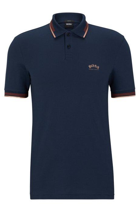 Slim-fit polo van stretchpiqué met gebogen logo, Donkerblauw