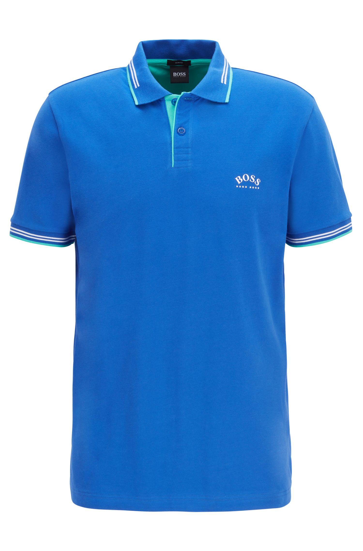 Slim-Fit Poloshirt aus Stretch-Piqué mit geschwungenem Logo, Blau
