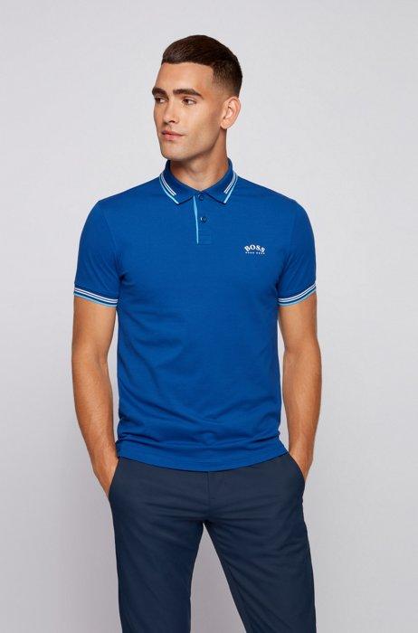 Polo Slim Fit en maille piquée stretch à logo incurvé, Bleu