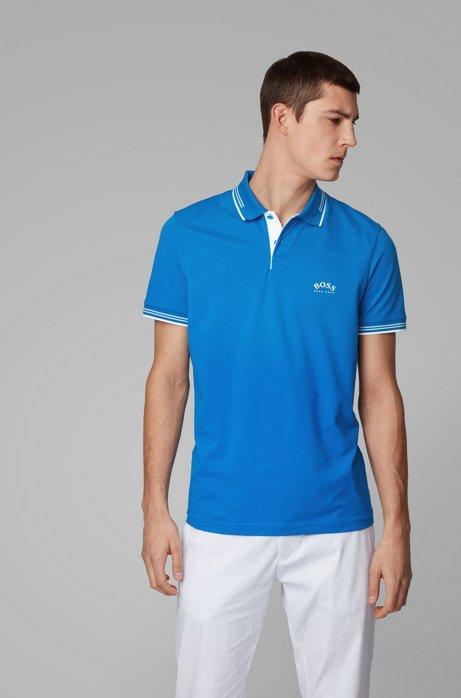 Slim-fit polo van stretchpiqué met gebogen logo, Blauw
